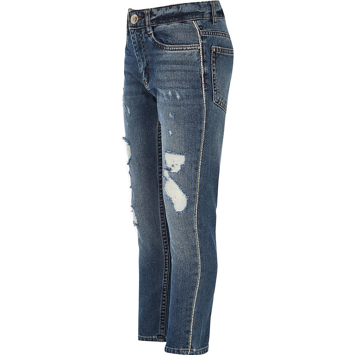 Girls blue Bella rhinestone trim jeans