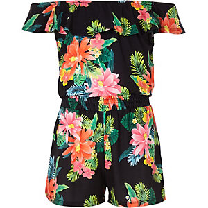 Girls black tropical print bardot playsuit