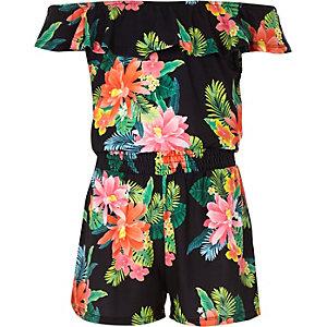 Zwarte bardotplaysuit met tropische print voor meisjes