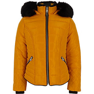 Girls yellow faux fur trim padded coat