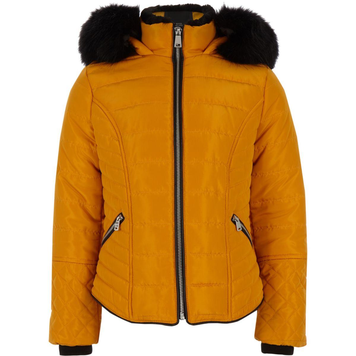 Girls yellow faux fur trim padded coat
