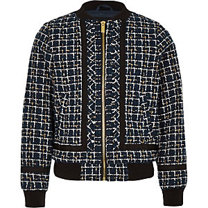 Navy boucle zip front bomber jacket