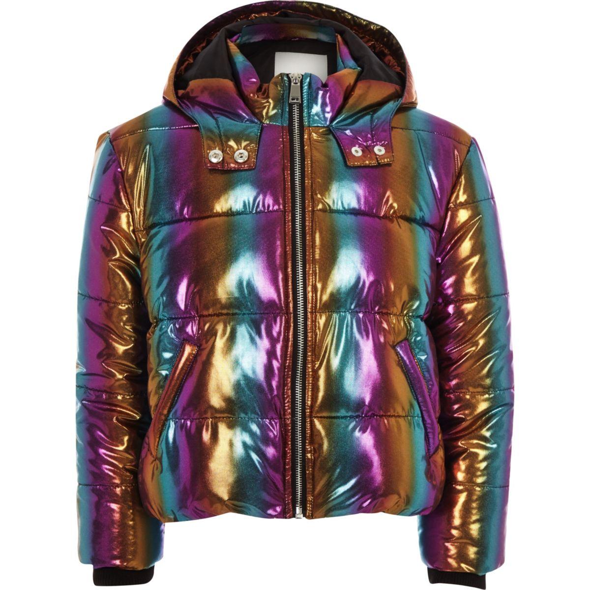 Girls blue rainbow hooded puffer jacket