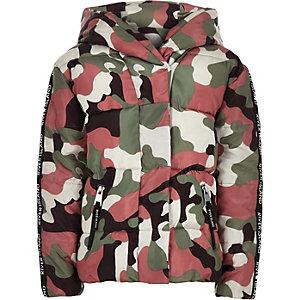 Groen gewatteerd jack met camouflageprint voor meisjes