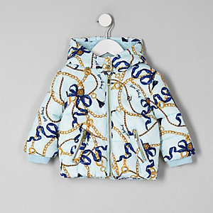 Mini girls blue RI chain print puffer coat