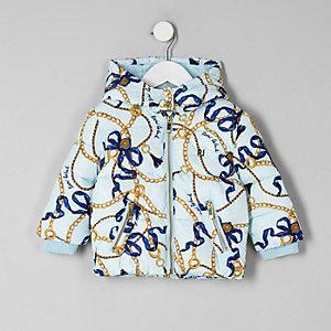 Mini - Blauw gewatteerd jack met kettingprint en RI-logo voor meisjes