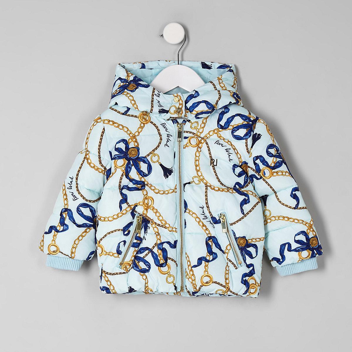 Mini girls blue RI chain print puffer coat