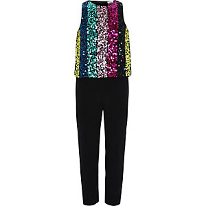 Girls black multi stripe sequin jumpsuit