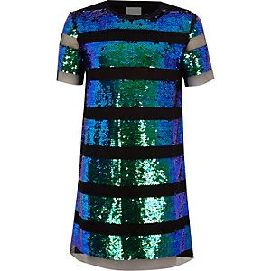 Girls black sequin ombre stripe T-shirt dress