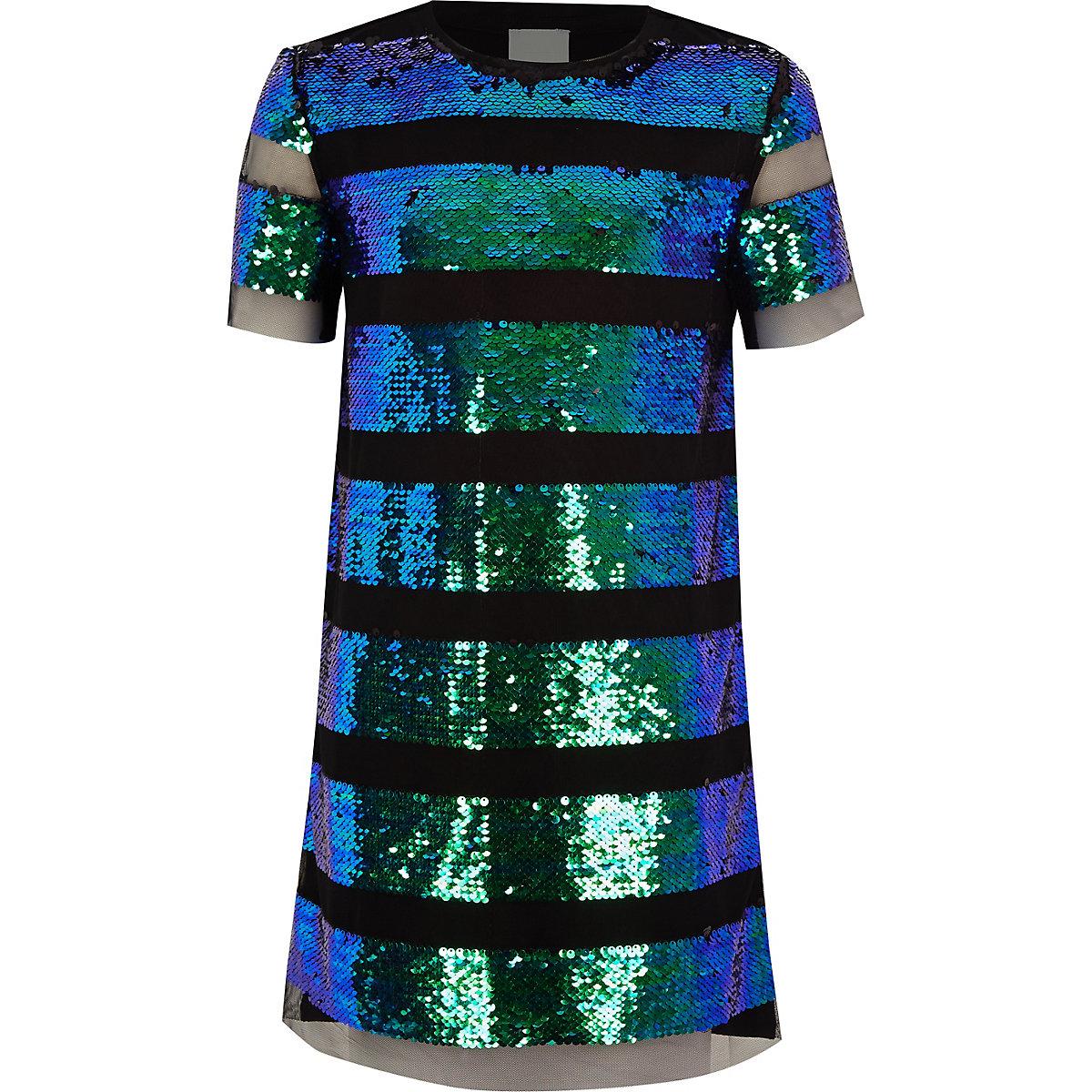 Girls black sequin ombre stripe T-shirt dress