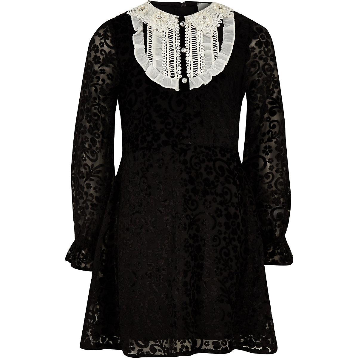 Girls black lace front collar shift dress