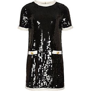 Schwarzes, paillettenverziertes Kleid