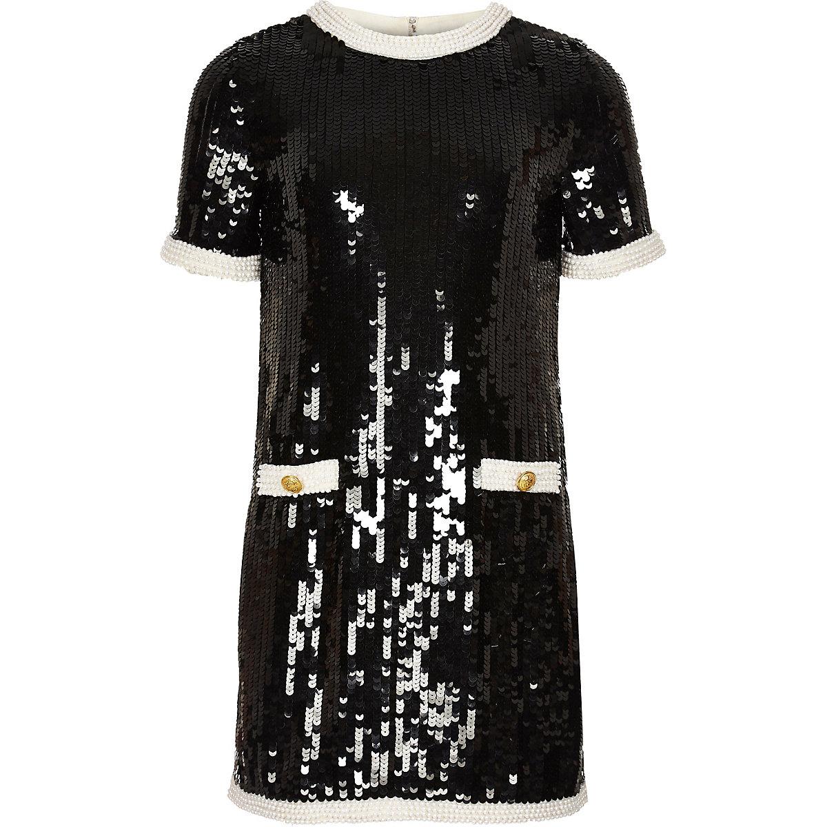 Girls black sequin embellished dress