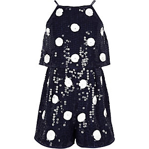 Girls navy polka dot sequin playsuit
