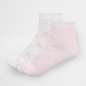 Girls pink RI monogram socks