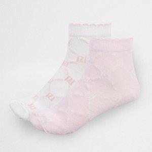 Chaussettes roses avec monogramme RI pour fille
