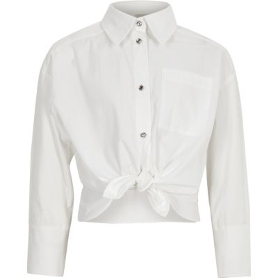 Girls White Poplin Jewel Button Shirt by River Island