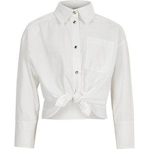 Wit poplin overhemd met knopen en sierstenen voor meisjes