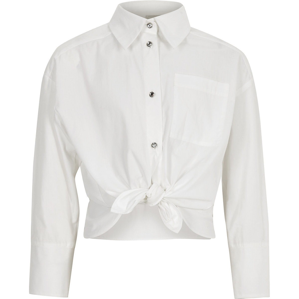 Girls white poplin jewel button shirt
