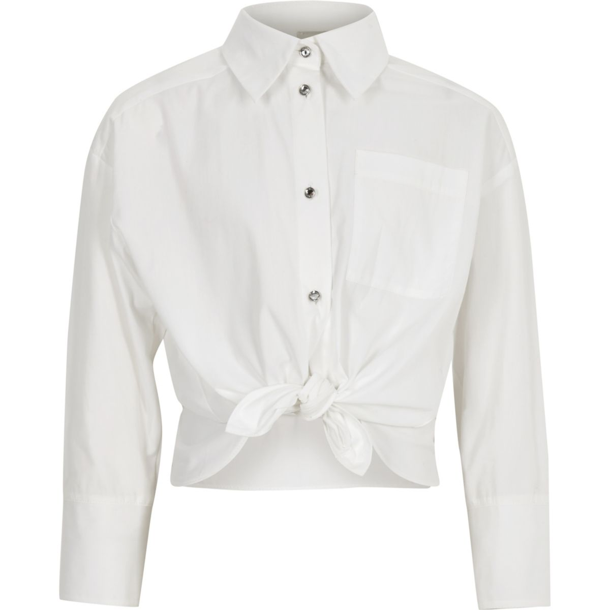 Girls white poplin jewel button shirt