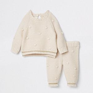 Crème gebreide joggingoutfit met pompon voor baby's
