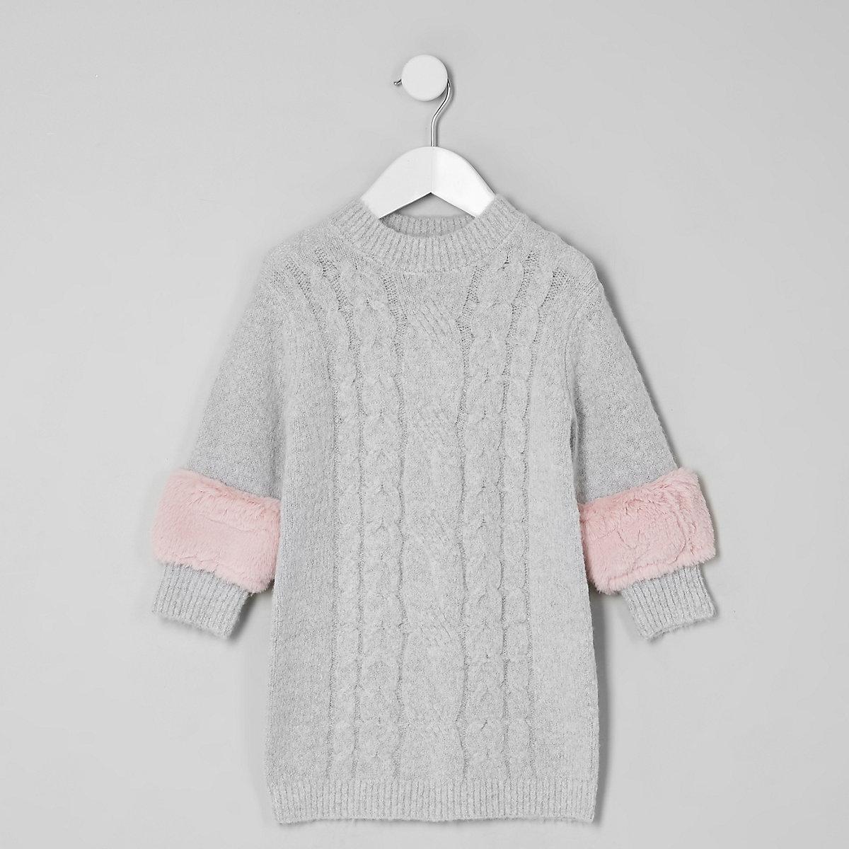 Mini girls grey cable faux fur trim dress