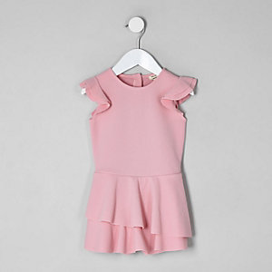 Combi-short jupe-culotte rose à volant mini fille