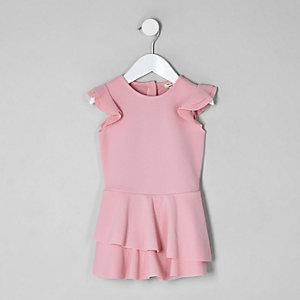 Mini - Roze skort-playsuit met ruches voor meisjes