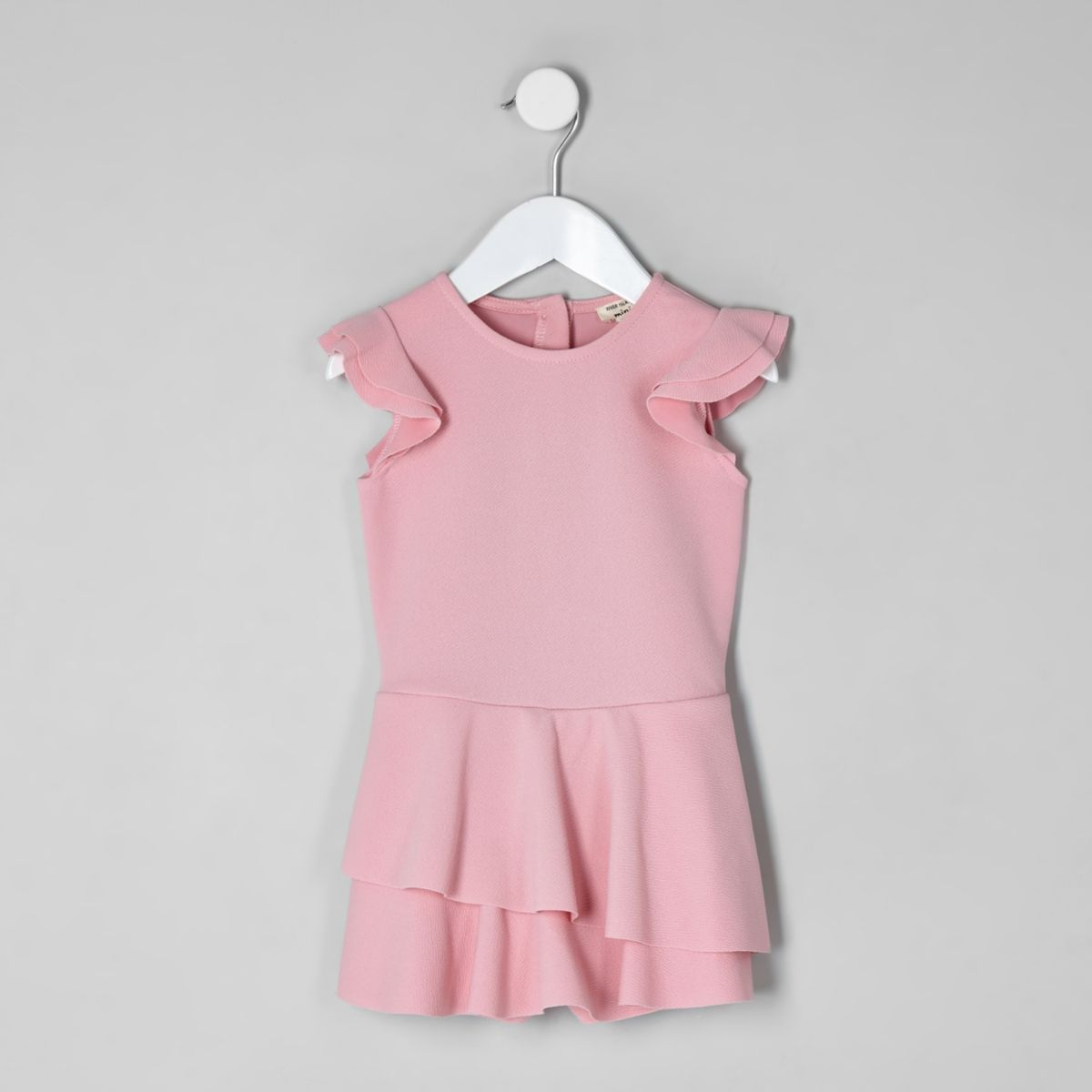Mini girls pink skort frill playsuit