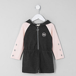 Mini girls pink hooded sweat romper