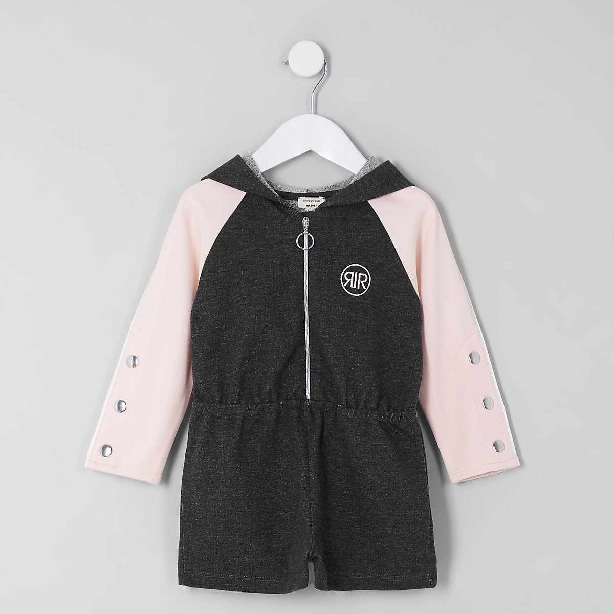 Mini girls pink hooded sweat playsuit
