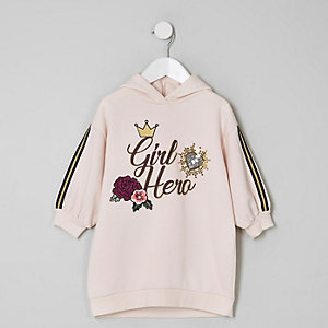Mini girls pink 'girl hero' hoodie dress