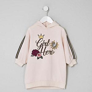 Mini - Roze hoodiejurk met 'girl hero'-print voor meisjes
