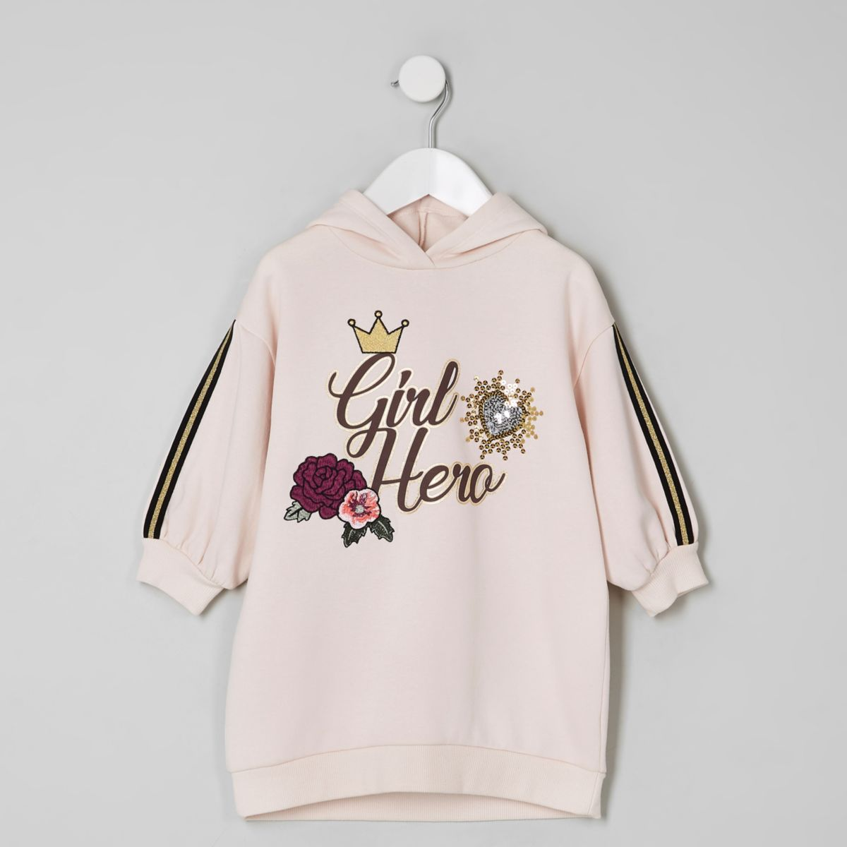 Mini girls pink 'girl hero' hoodie dress