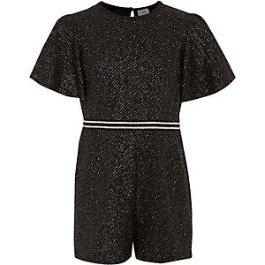 Girls black sparkly romper