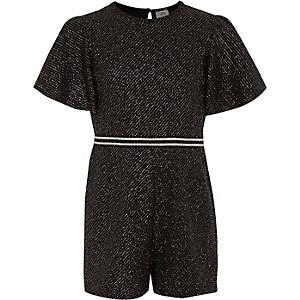 Combi-short noir scintillant pour fille