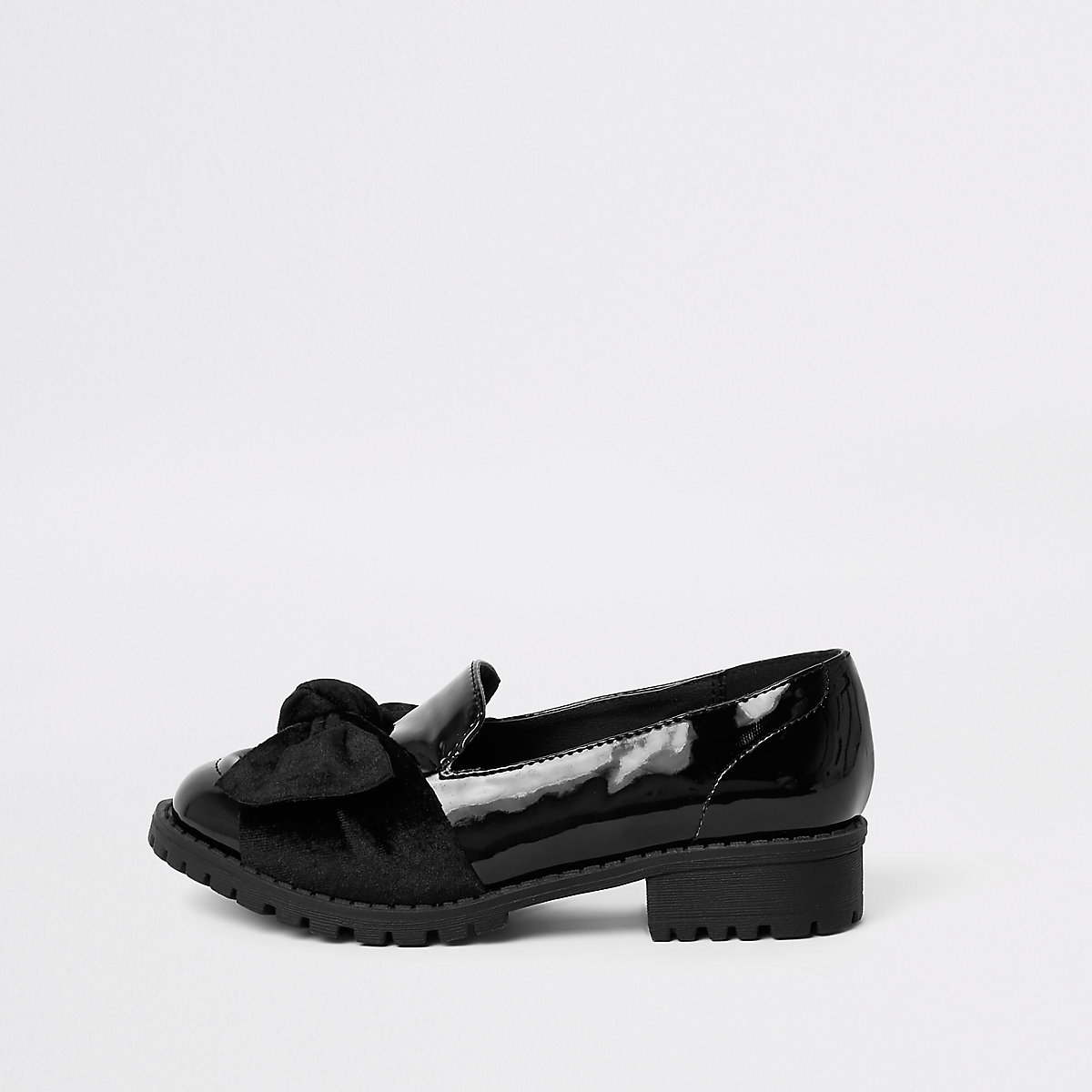 Girls black patent bow loafers
