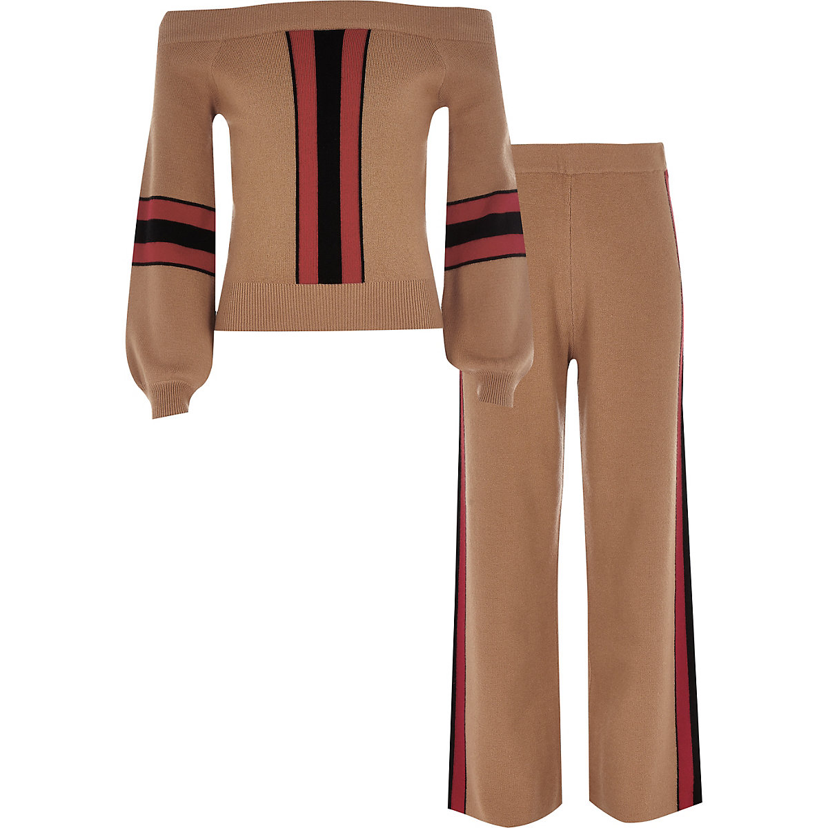 Girls brown bardot sweater and jogger set