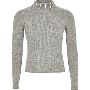 Girls grey pearl embellished high neck top