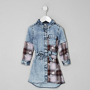 Mini girls acid wash tie check shirt dress