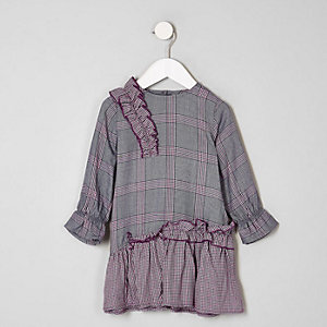Mini girls purple check peplum dress