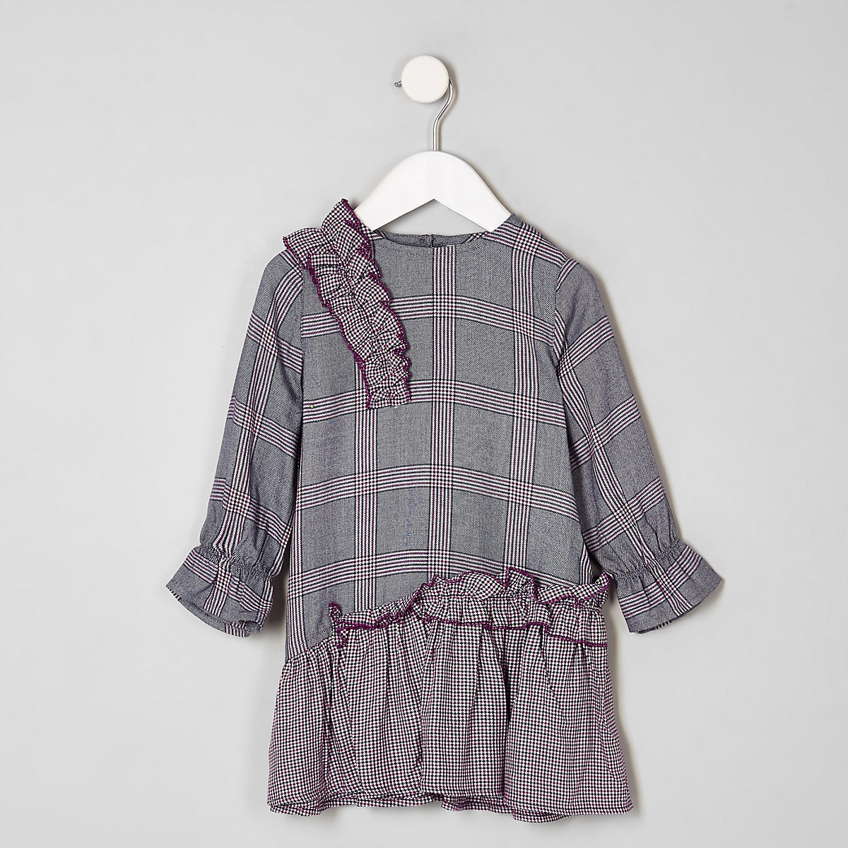 Mini girls purple check peplum dress