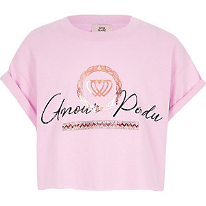 Girls pink 'amour perdu' print T-shirt