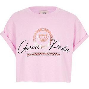 Roze T-shirt met 'amour perdu'-print voor meisjes