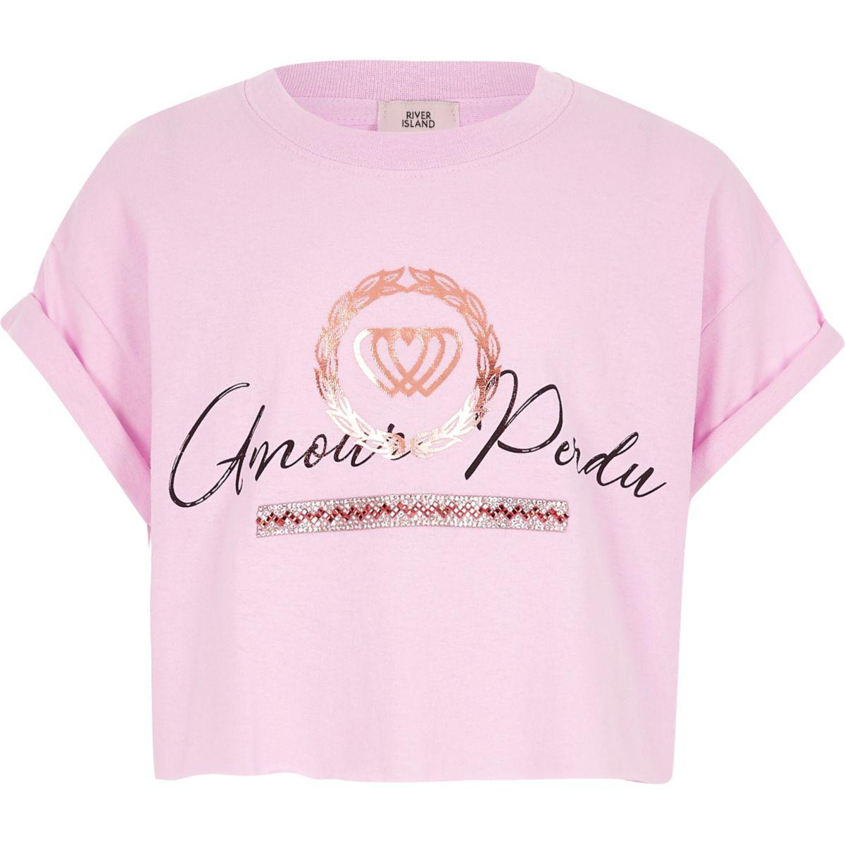Girls pink 'amour perdu' print T-shirt