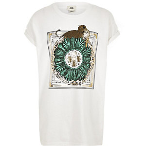 Girls white leopard 'eternal paris' T-shirt