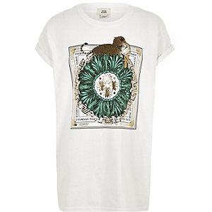 Wit T-shirt met luipaard-  en 'eternal paris'-print voor meisjes