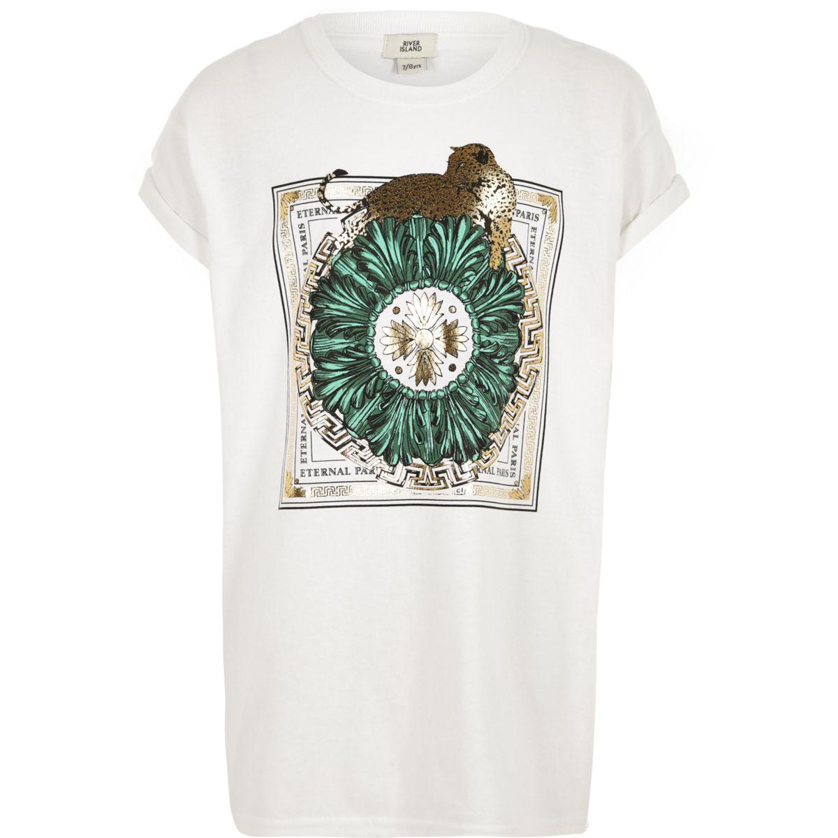 T-shirt «eternal Paris» motif léopard blanc pour fille