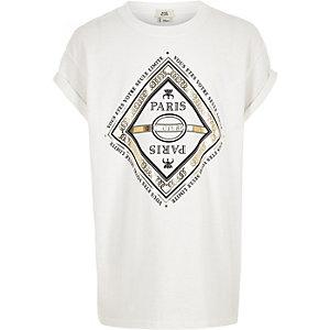 Wit T-shirt met 'Paris'-folieprint voor meisjes