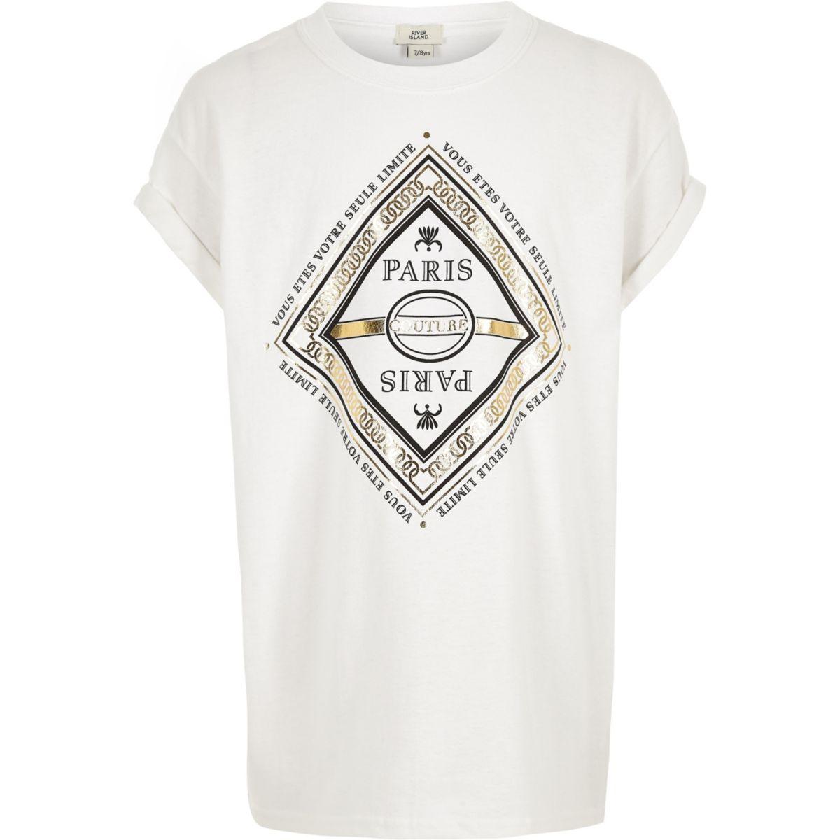 Girls white 'Paris' foil print T-shirt